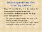 studies required by the fda after drug approval