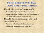 studies required by the fda on the road to drug approval
