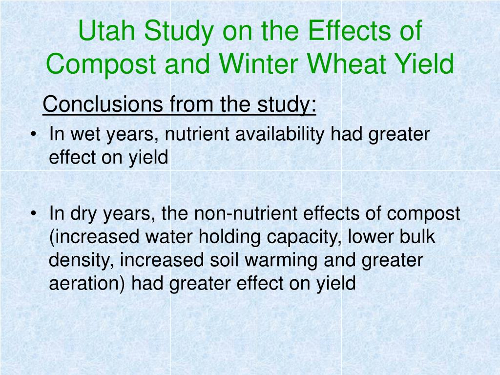 Utah Study on the Effects of Compost and Winter Wheat Yield