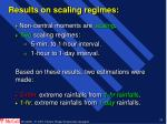 results on scaling regimes