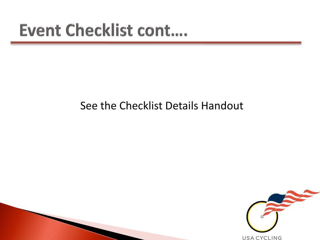 Event Checklist cont….