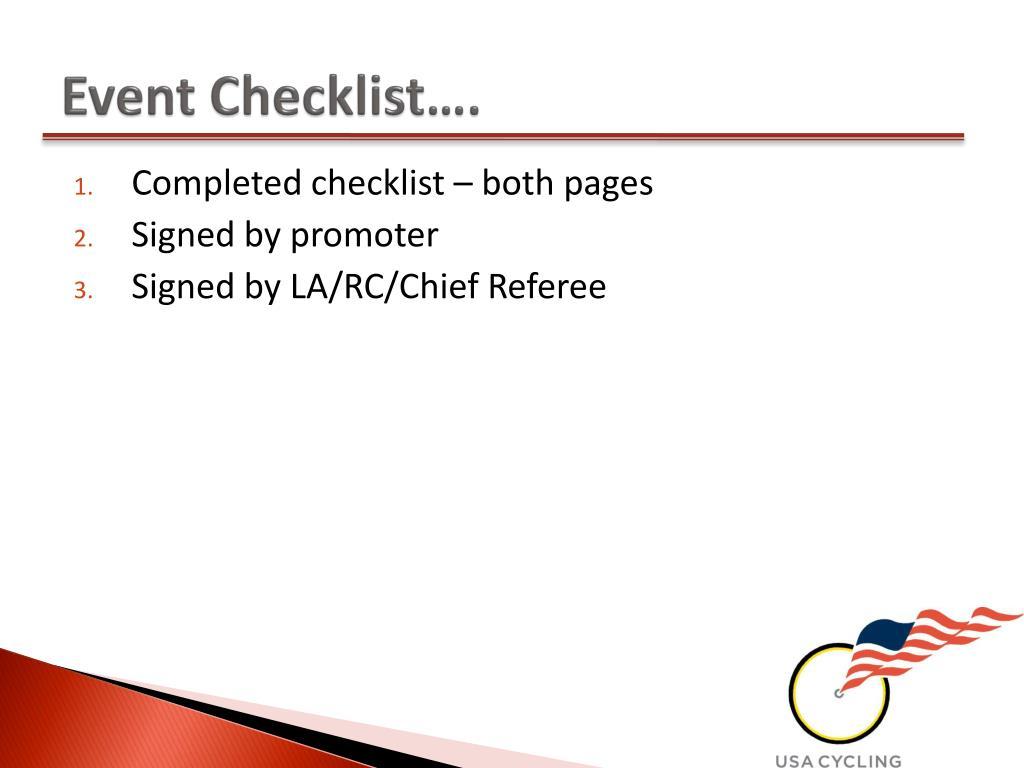Event Checklist….
