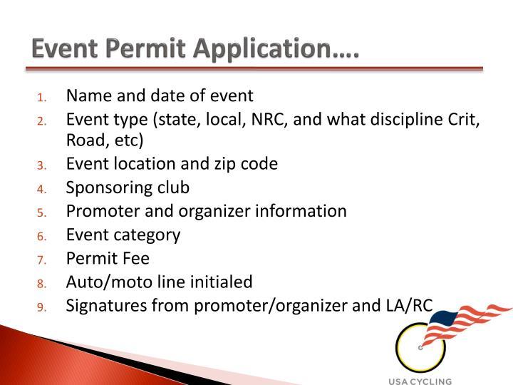 Event permit application