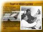 start of motorcycles