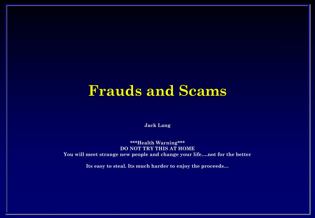 frauds and scams l.