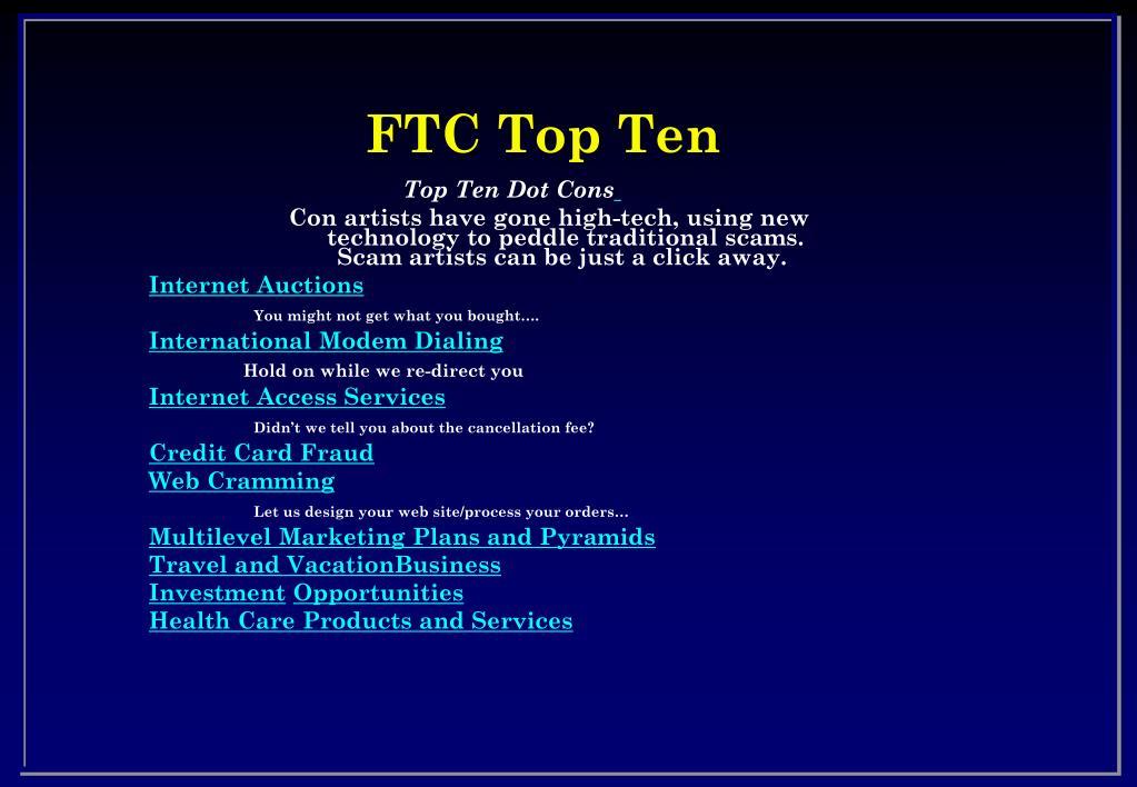 FTC Top Ten