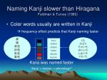 naming kanji slower than hiragana feldman turvey 1980