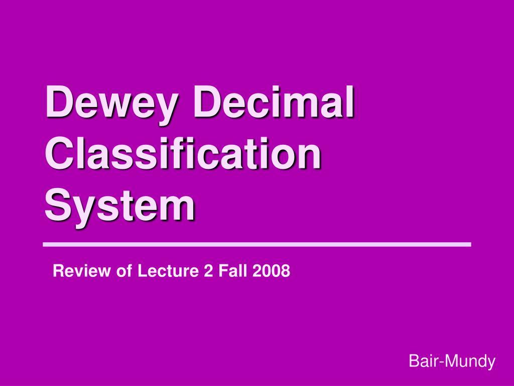 dewey decimal classification system l.