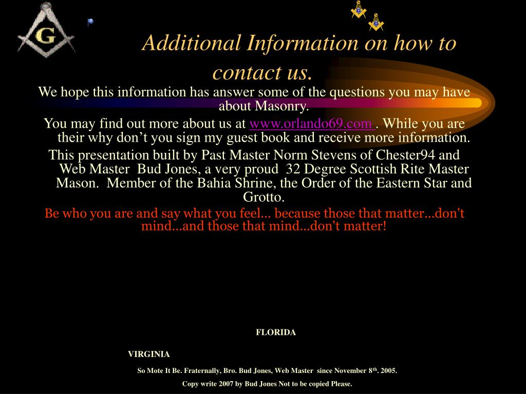 Additional Information on how to contact us.