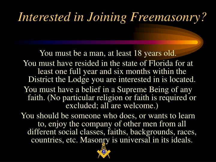 Interested in joining freemasonry