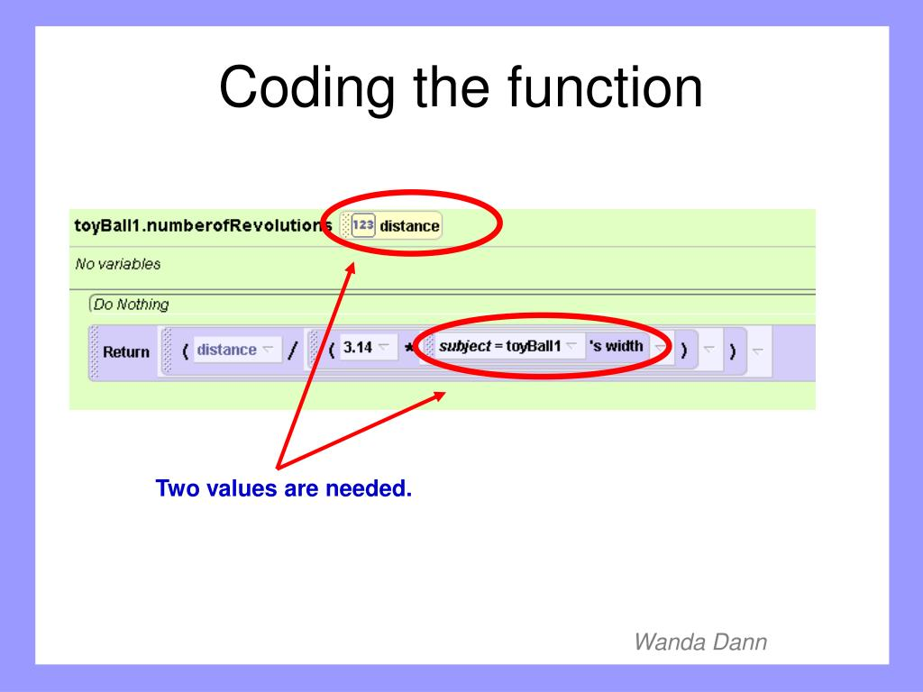 Coding the function