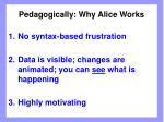 pedagogically why alice works
