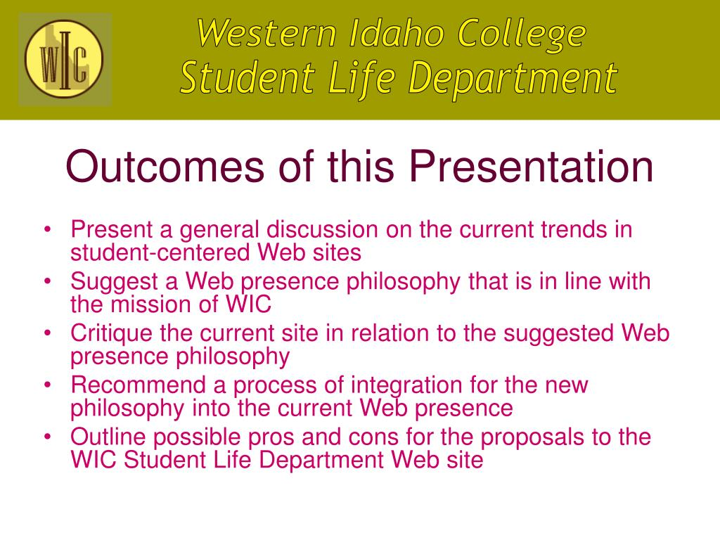 Outcomes of this Presentation