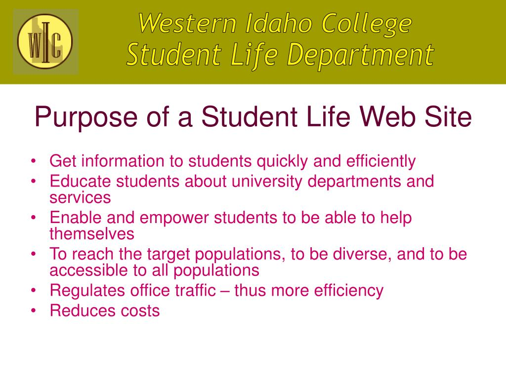 Purpose of a Student Life Web Site