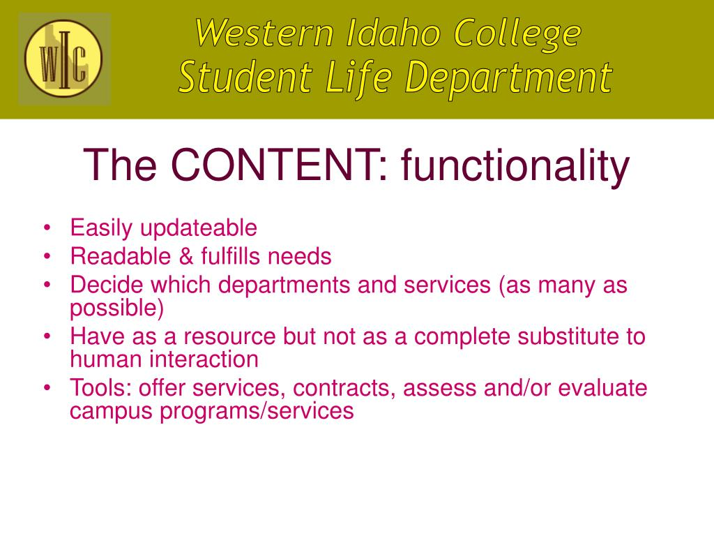 The CONTENT: functionality