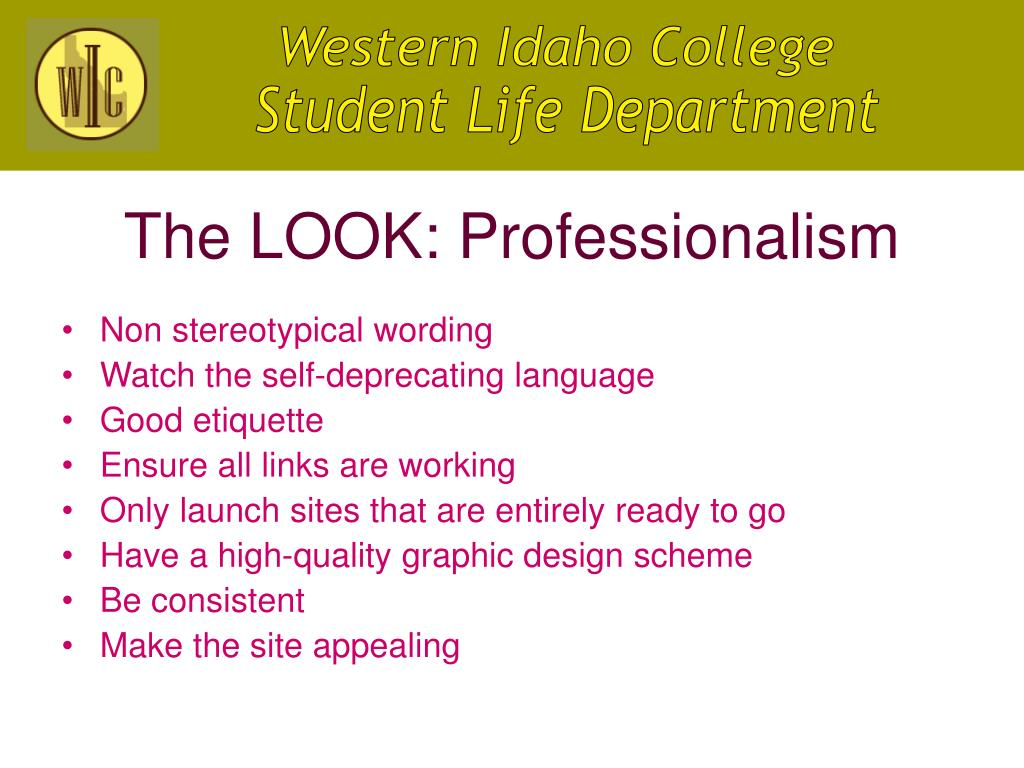 The LOOK: Professionalism