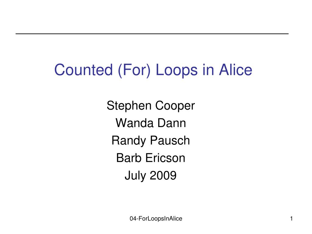 counted for loops in alice l.