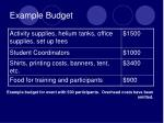 example budget
