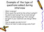 example of the type of questions asked during interview