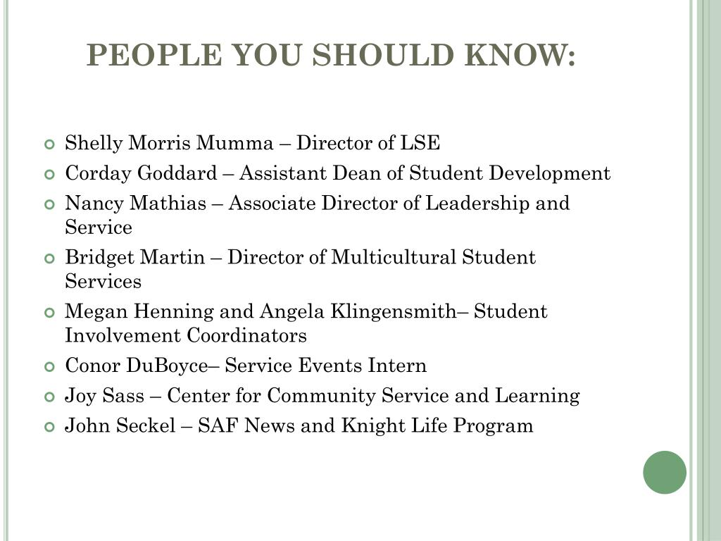 PEOPLE YOU SHOULD KNOW: