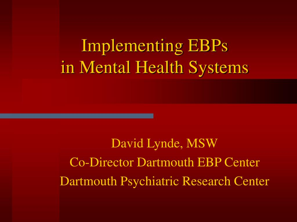 implementing ebps in mental health systems l.