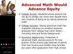 advanced math would advance equity