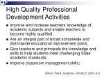 high quality professional development activities