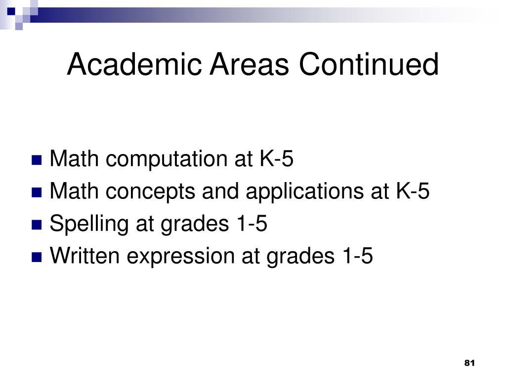 Academic Areas Continued