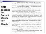 cbm passage for correct words per minute