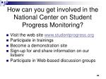 how can you get involved in the national center on student progress monitoring