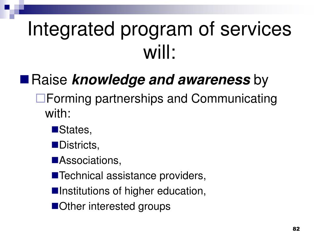 Integrated program of services will:
