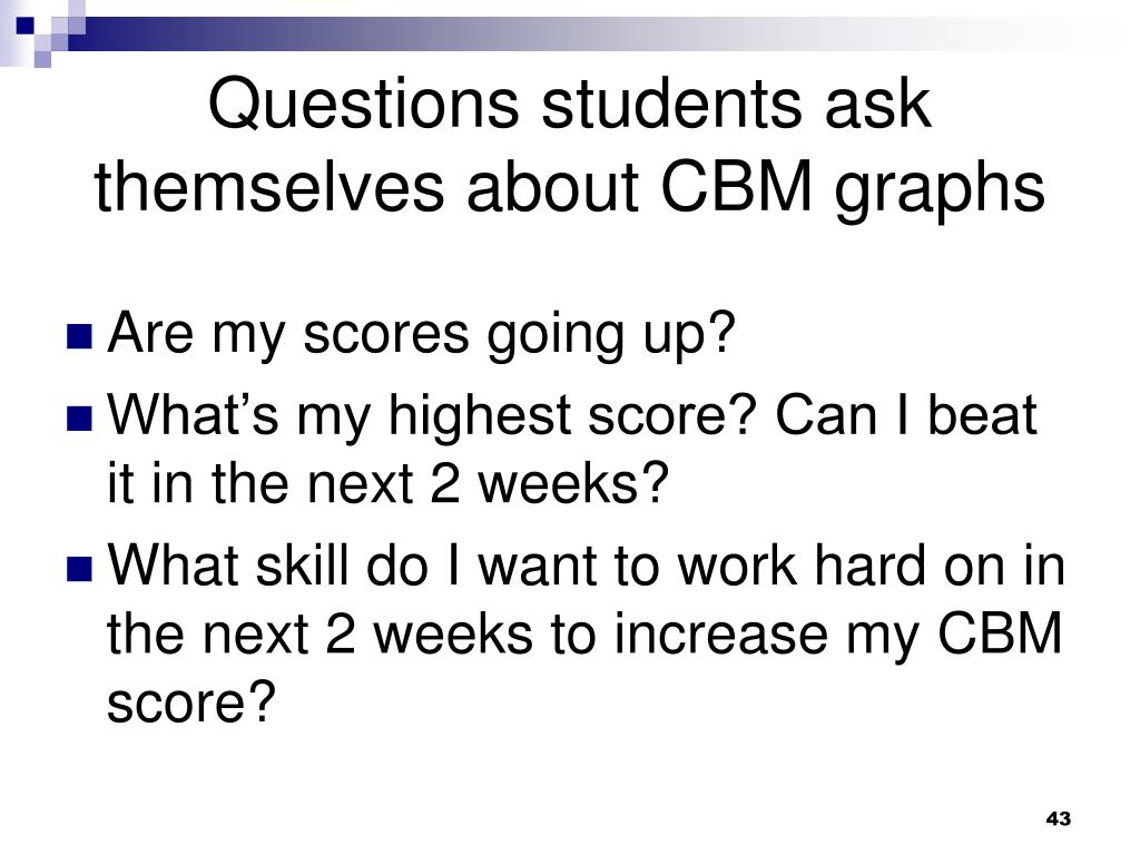 Questions students ask themselves about CBM graphs