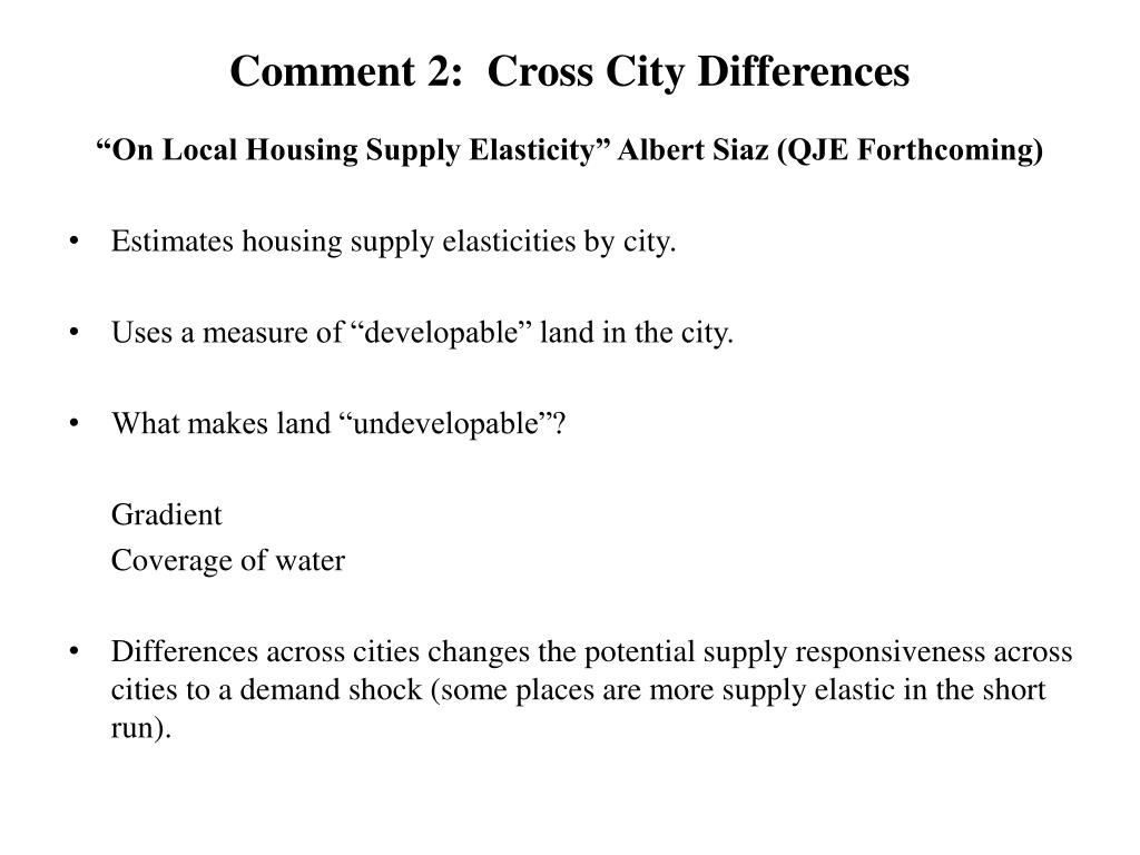 Comment 2:  Cross City Differences
