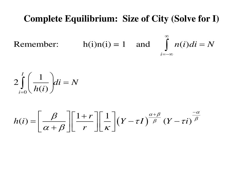 Complete Equilibrium:  Size of City (Solve for I)