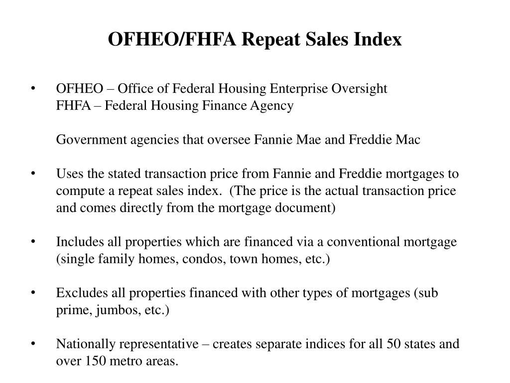 OFHEO – Office of Federal Housing Enterprise Oversight