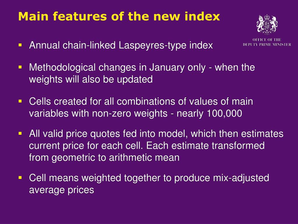 Main features of the new index