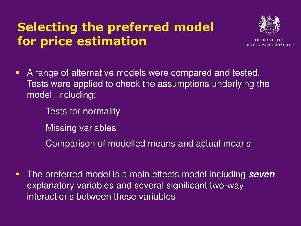 Selecting the preferred model for price estimation