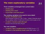 the main explanatory variables