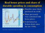 real house prices and share of durable spending in consumption
