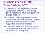 a bubble checklist abc three tests for nyc