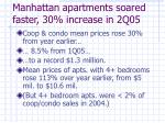 manhattan apartments soared faster 30 increase in 2q05