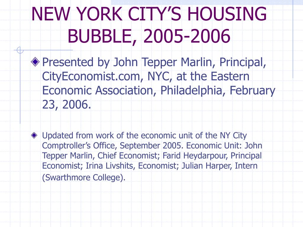 new york city s housing bubble 2005 2006 l.