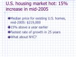 u s housing market hot 15 increase in mid 2005