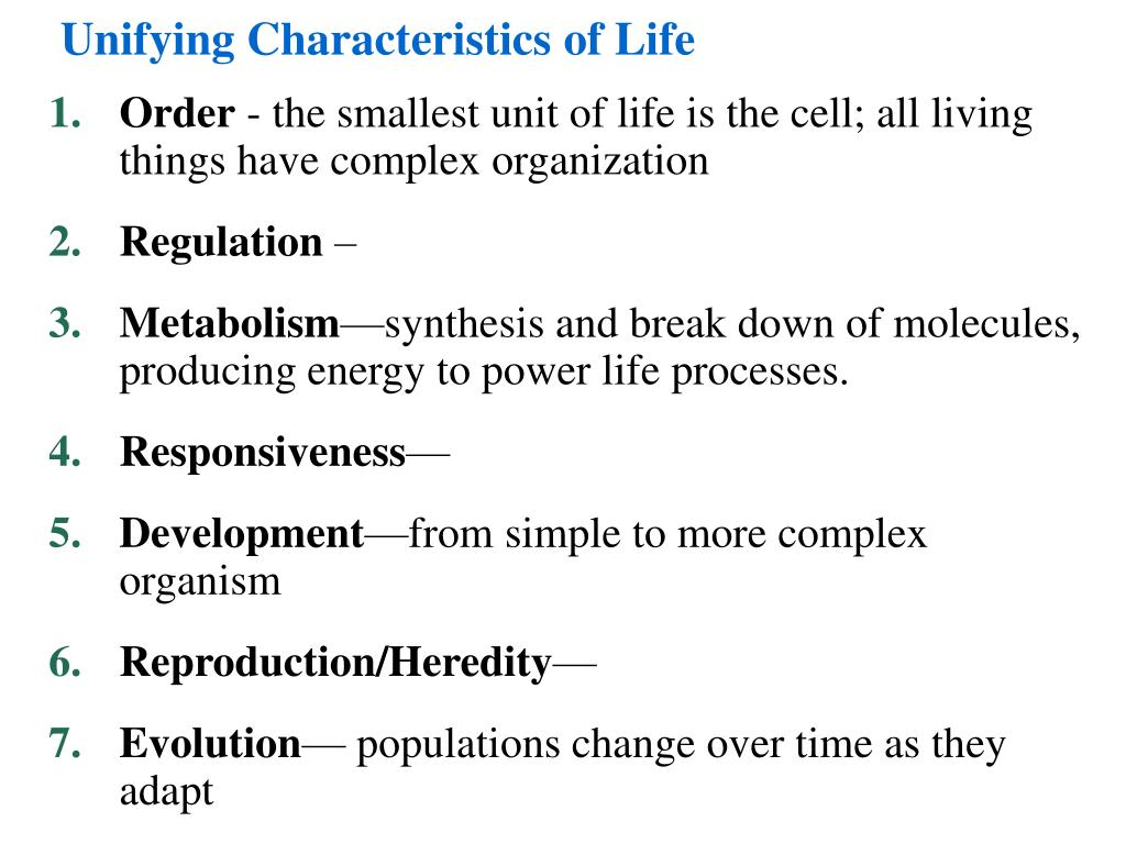 Unifying Characteristics Of Life Powerpoint Ppt Presentation