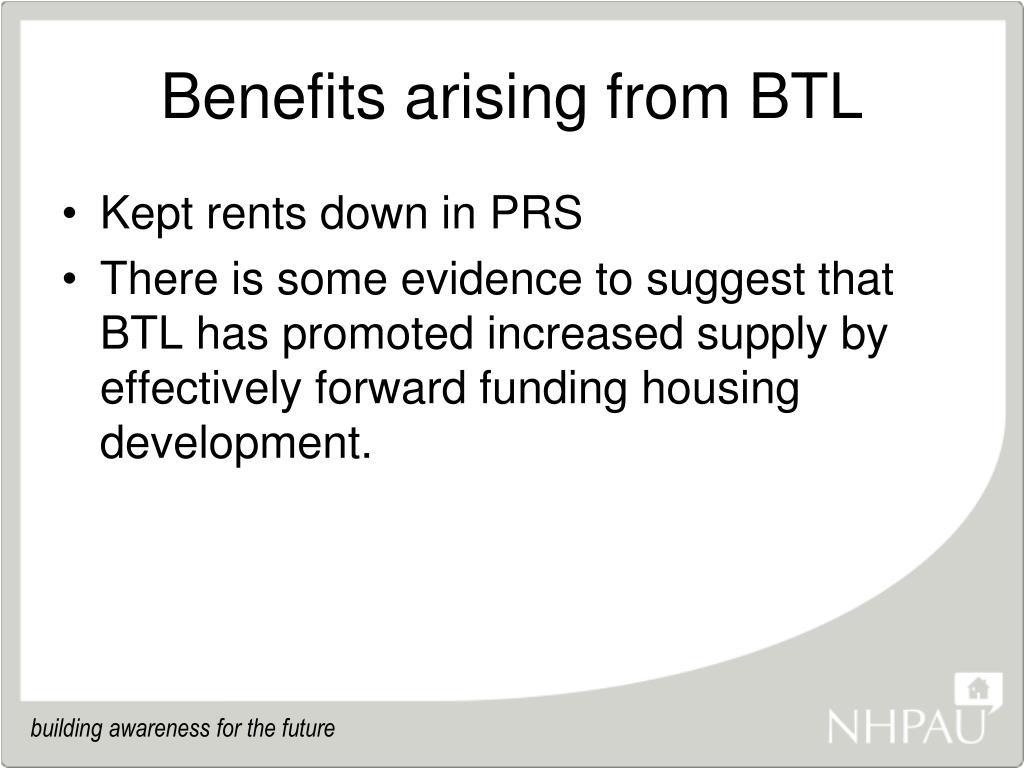 Benefits arising from BTL