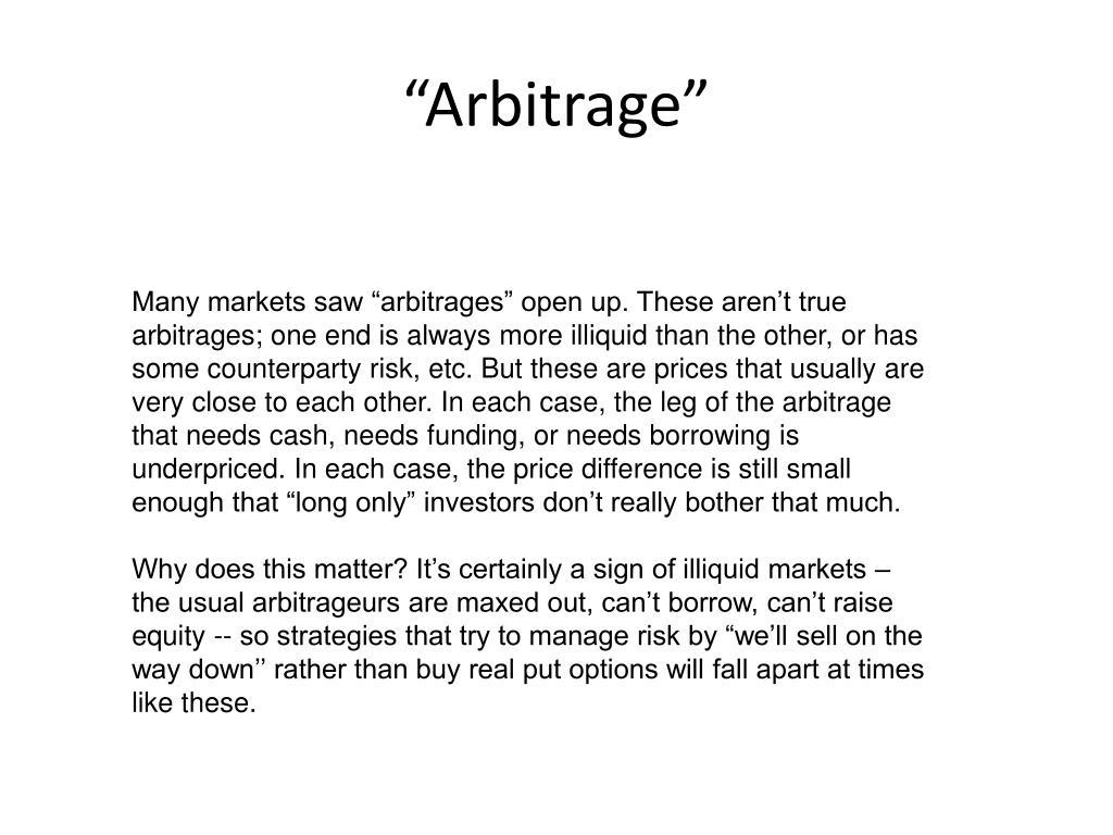 """""""Arbitrage"""""""