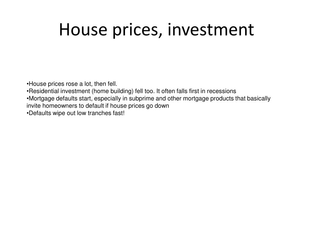 House prices, investment