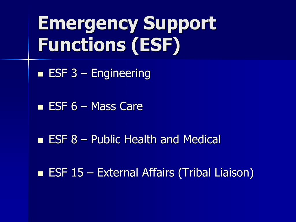 Emergency Support Functions (ESF)