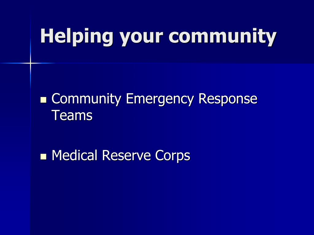 Helping your community