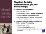 physical activity reduced balance gait and muscle strength